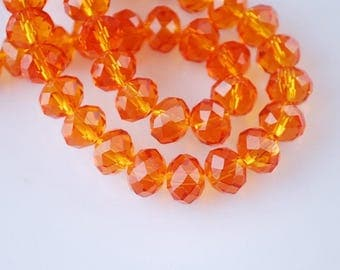 Faceted orange beads 6 * 8mm
