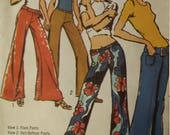 UNCUT and FF Pattern Pieces Vintage Simplicity 9484 Sewing Pattern Size 11/12 Flared and Bell Bottom Hip-Hugger Pants and Belt