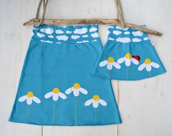 Mommy and me outfits-skirts set,mother and daughter matching outfits girl,matching mommy daughter,mother daughter,daisies-turquoise jersey