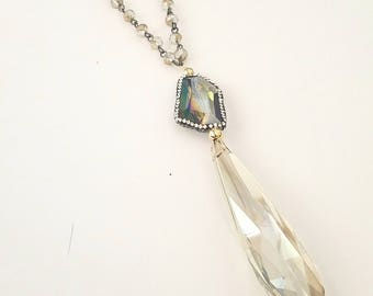 Crystals and Pave Beaded Chain Handmade Necklace