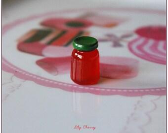 Small jam jar miniature resin 1 x red 15mm