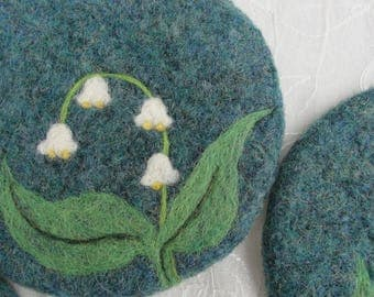 Wool Felted Coasters with a Needle Felted Lily of the Valley Design,Wool Felt Coasters, Felted Coasters,Lily of the Valley Coasters