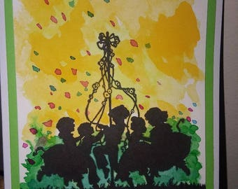 "Handmade ""Maypole"" watercolor cards - set of 6"