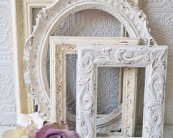Antique White Picture Frames Set Of 4 Empty/Open Shabby Chic Wall Decor