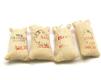 Dollhouse Flour,Salt,Coffee, Sugar 50 lb Bags, General Store, Country Store, Grocery Store, Miniature, Hobby, Scale Model, 1:12 Scale