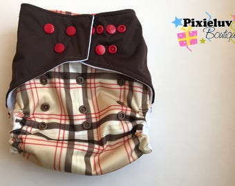 SALE! Plaid Red and Brown One Size Pocket Diaper (Cloth Diaper)