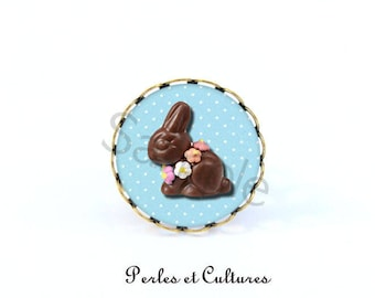 Easter Bunny ring - Chocolate Blue Brown cabochon