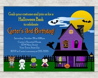 Halloween Birthday Party Invitation, Haunted House Halloween Party Invite - Printable File or Printed Invitations