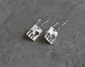 Sterling silver dangle wire earrings with flowers