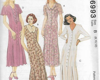 McCall's 6993 Size 8-10-12 Bust 31 1/2 - 34 Misses' Body Skimming Front Buttoned Dress and Slip Sewing Pattern 1994 Uncut