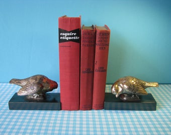 Vintage Brass Bird Bookends - Heavy Metal -  Pair - Library Decor - Vintage  1970's