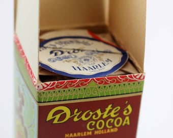 Droste's Cocoa from Holland, vintage unused in original bright graphic box