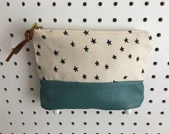 Stars Leather Bottom Zipper Pouch