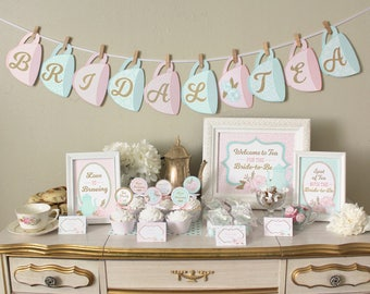 tea party bridal shower printable set decorations classic shabby chic designs pink mint