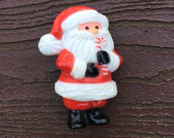 Vintage Hallmark Pin Brooch Christmas Santa Claus with Candy Cane