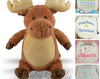 Personalized Stuffed Animal, Personalized Moose, Embroidered Stuffed Animal, Personalized Keepsake, New Baby Gift, Valentines Day Gift