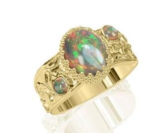 3-Stone Natural Australian Black Opal Ring in 14K or 18K Gold 2.15TCW SKU: R2224