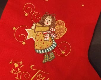 Joy Angel  Christmas Stocking