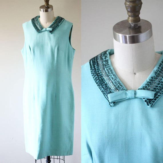 1960s blue beaded dress  // 1960s mod dress // vintage dress