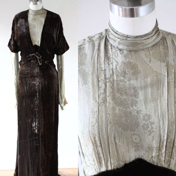 Late 1910s metalic thread dress // Early 1920s silk and velour dress // Antique dress