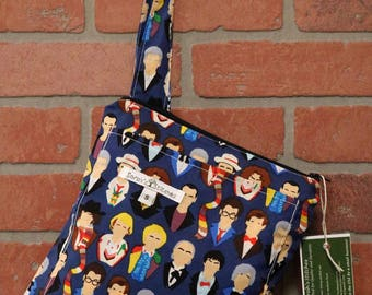 Small Wetbag, Doctor Who, HANDLE, Cloth Diaper Wetbag, Cosmetic Bag, Diaper Bag, Holds One Diaper, Size Small with Pocket, S35
