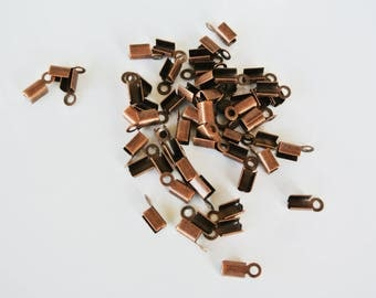 25 10x4mm copper brass cord ends