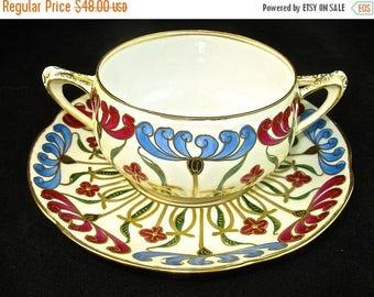 ON SALE HUTSCHENREUTHER Art Nouveau Soup Bowl Cup Saucer, Double Handled, Hand Painted, Austria