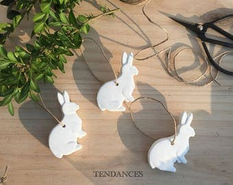 little white rabbits ceramic 6.5 x 4 cm