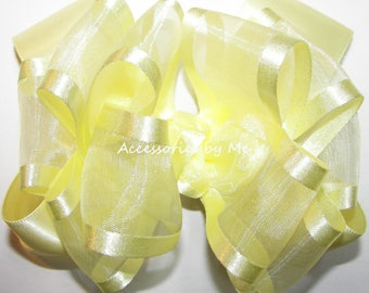 Yellow Hair Bow, Yellow Easter Clip, Yellow Organza Satin Bow, Yellow Flower Girls Clip, Yellow Bow Baby Head Band, Yellow Infant Bow Bands