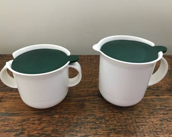 Vintage Tupperware Cream and Sugar Containers with Hunter Green Push Lid 2310, 2311