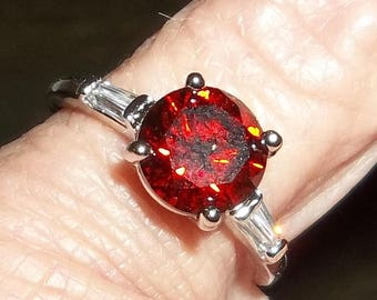 Sterling Silver Ring with ruby red gemstone