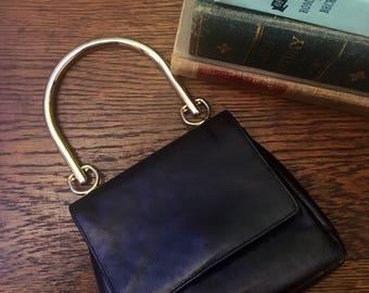 Vintage Black Joseph B Handbag with Gold Handles