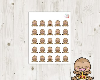 Lazy Sloth Pizza Night Planner Stickers - ECLP Stickers