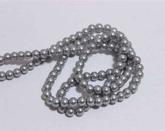 150 wire glass Pearl mother of Pearl round dia 6mm grey