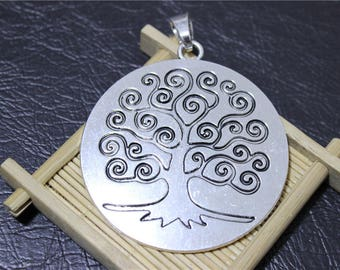 1 round pendant charm tree of life antique silver