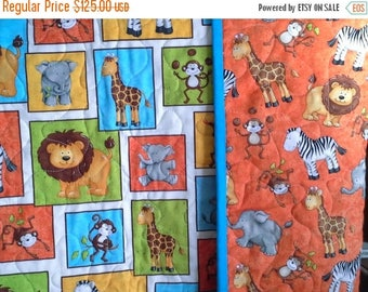 Sale Monkey Mischief and Other Jungle Animals Crib or Toddler Blanket In Bright Gender Neutral Colors