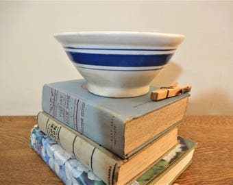 Small Yellow Ware Bowl - White with Blue Bands - White and Blue Yelloware - Mixing Bowl - Early 1920s - Primitive Farmhouse