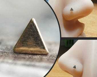 Solid 14k Yellow Gold Triangle Nose Stud - You Choose the Gauge and Bend - Geometric Piercing Jewelry