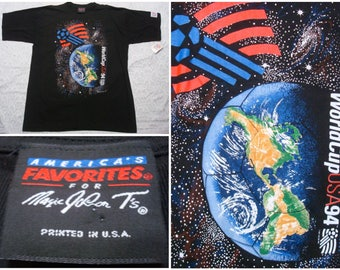 Vintage Retro Men's 90's 1994 USA World Cup Tee shirt Black Blue White Deadstock New Tags Short Sleeve Large Made in USA