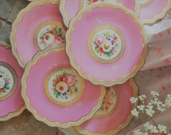 Fabulous Victorian pink, gilt and floral dessert set.