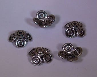 5 pearls flower metal 15mm Tibetan silver