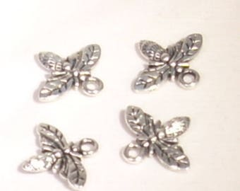 Set of 4 bee 13mm silver plated charms