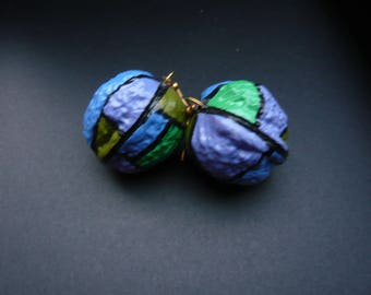 Painted natural coconut earrings