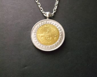 Egyptian 1 Pound  Coin Necklace Egypt Gold and Silver Coin Pendant with Bail and Chain