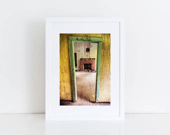 Door Art Gallery Wall Prints Abandoned Photography Urban Decay Industrial Wall Decor Rustic Home Decor Fireplace Art Yellow Decor Grunge Art