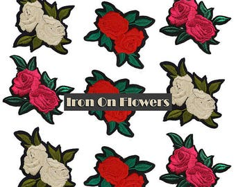 MIX Embroidered Iron On Flowers Roses Patches Appliques 9 pcs