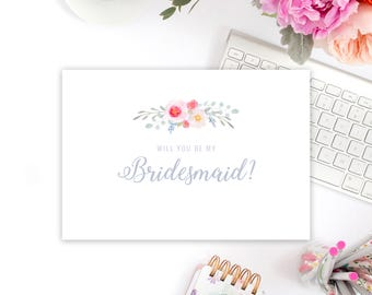"""floral """"will you be my bridesmaid"""" card"""