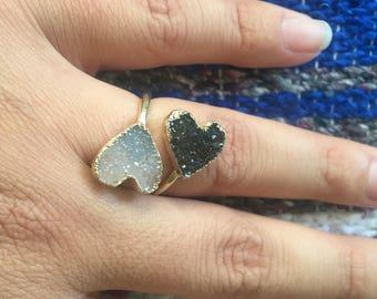 Druzy ring, druzy heart ring, heart ring, gold heart ring, druzy gold ring, statement ring, adjustable druzy ring