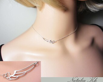 925 Sterling Silver Deco Wing Necklace Side Wing Necklace Layering Necklace Delicate Necklace Beach Necklace Everyday Jewelry Gift for Her