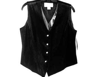 Peter Nygard Black Velvet Vest - Silver Organza - Rhinestones - Womens Vintage Desginer - Ladies Formal Wear - 1990s Haute Couture